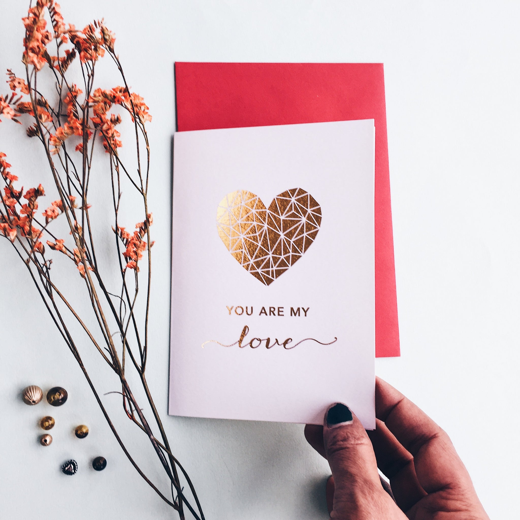Valentines Day Card with Gold