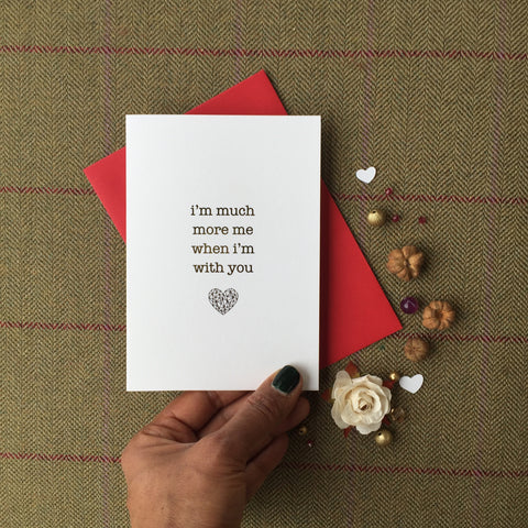 antdesigngifts.co.uk Valentines card in gold foil. Handprinted in our studio. Supplied with a luxury gold or red envelope