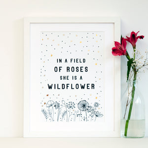 Girl Flower Art Print