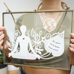 www.antdesigngifts.co.uk Framed papercut yoga meditation mindfulness gift. Featuring meditating person with om sign and quotation.