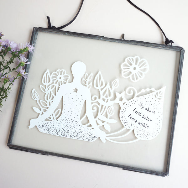 www.antdesigngifts.co.uk Double glass zinc frame with papercut yoga meditation mindfulness gift. Featuring meditating person with flower and quotation.