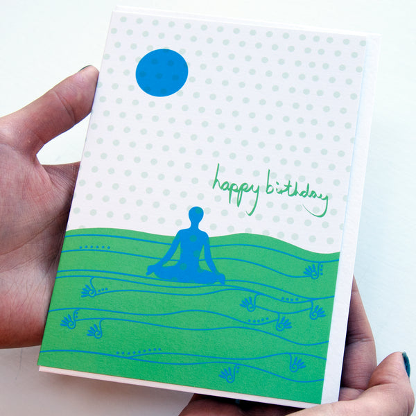Yoga Birthday Card in Green
