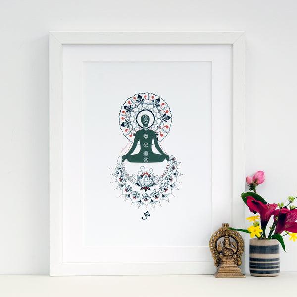 www.antdesigngifts.co.uk Yoga art print with sitting pose. Padmasana