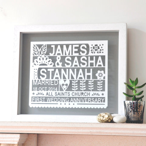 antdesigngifts.co.uk 1st anniversary gift papercut personalised with names, wedding date, venue and first wedding anniversary. The design is cut out of card and framed in a floating frame