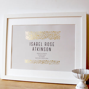 Personalised New Baby Gift with Gold