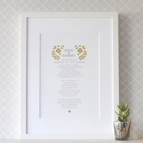 Personalised Wedding Vow Print with Gold