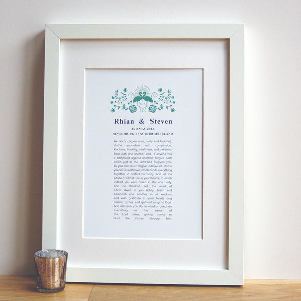 Personalised Wedding Anniversary Vow Print