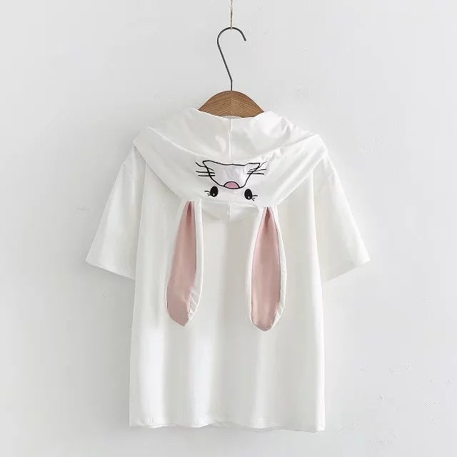 d5272 college style cartoon rabbit ear embroidery hooded short