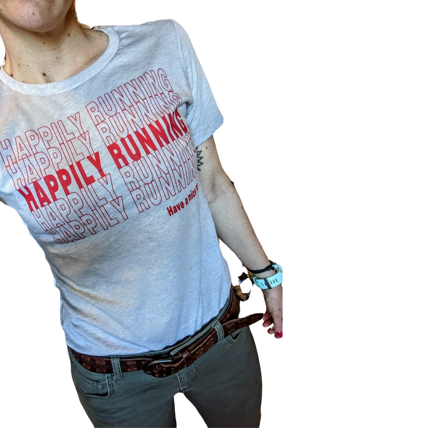 Happily Running Thank you bag Shirt