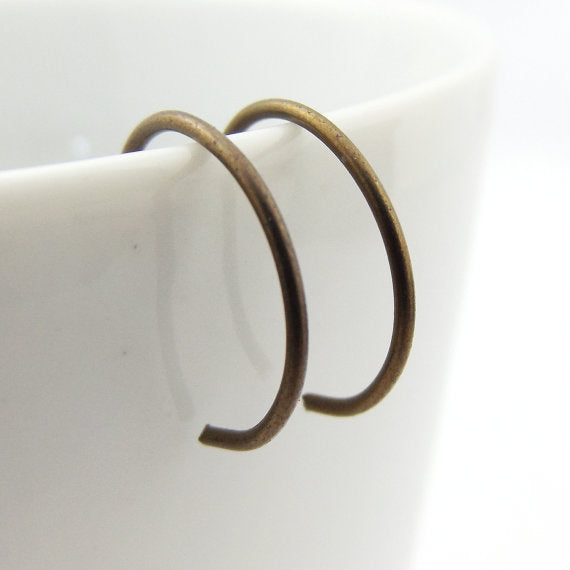 Bronze Niobium Hoop Earrings