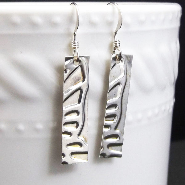 Butterfly Rectangle Sterling Silver Drop Earrings - Eluna Jewelry