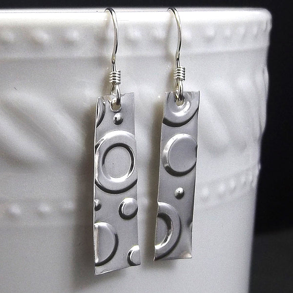 Circles, Simple Sterling Silver Drop Earrings - Eluna Jewelry