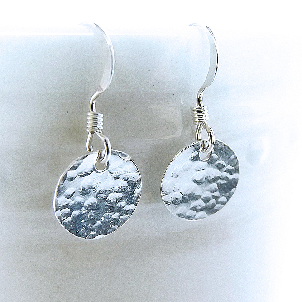 Hammered Silver Disc Earrings - Eluna Jewelry