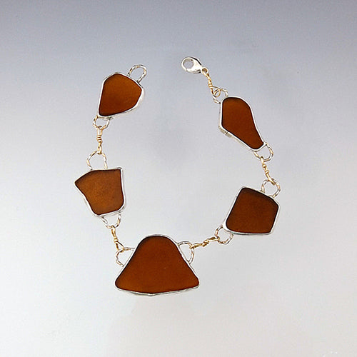 Brown Sea Glass Bracelet - Eluna Jewelry