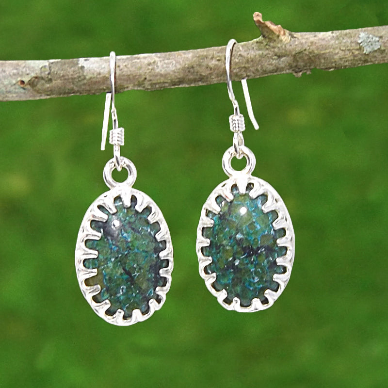 Chrysocolla Gemstone Earrings - Eluna Jewelry