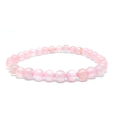 Rose Quartz Gemstone Healing Bracelet for Unconditional Love, 6mm Bead Bracelet - Eluna Jewelry