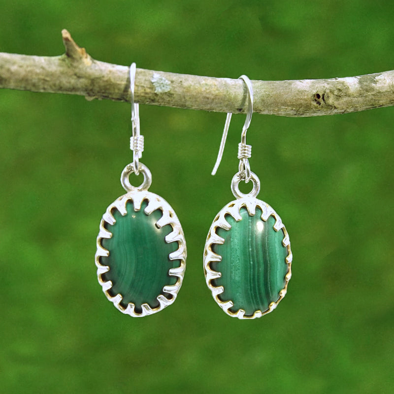 Malachite Sterling Silve Gemstone Earrings - Eluna Jewelry