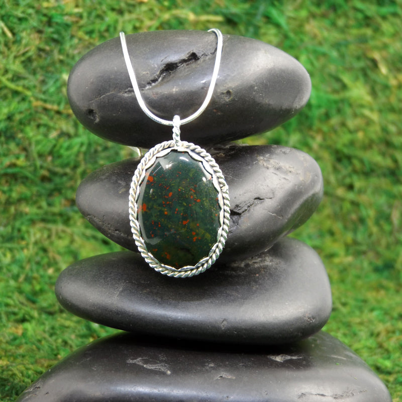 Bloodstone Necklace for Protection and Grounding - Eluna Jewelry