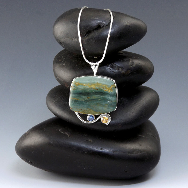 Gary Green Bog Jasper, Designer Larsonite Cabochon Necklace - Eluna Jewelry