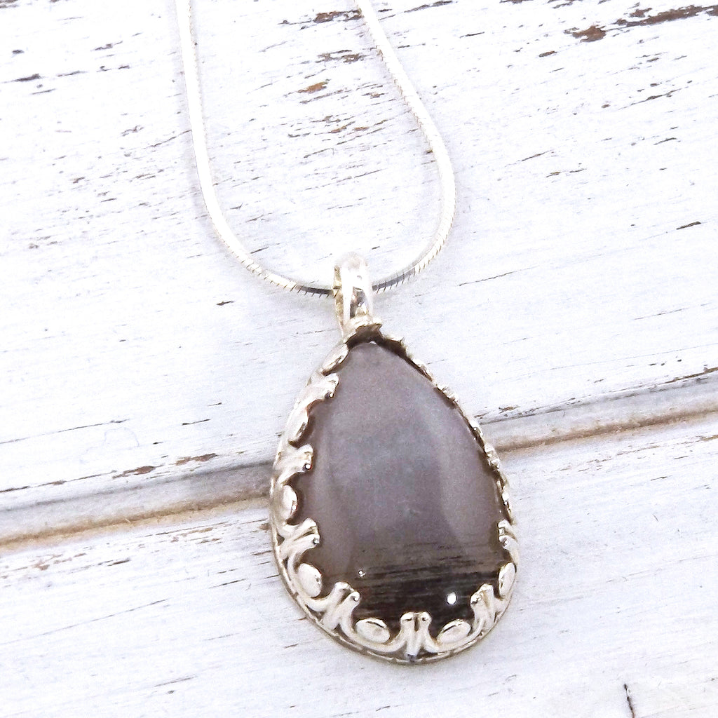 Silver Moonstone Gemstone Necklace - Eluna Jewelry