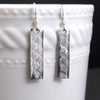 Diamond Waves Rectangle Sterling Silver Drop Earrings - Eluna Jewelry