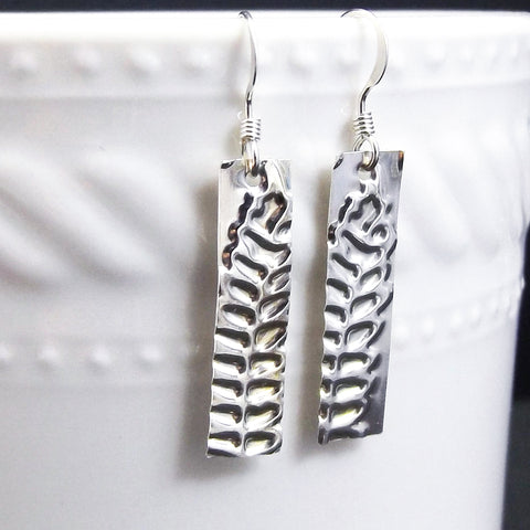 Fern Leaf Sterling Silver Drop Earrings