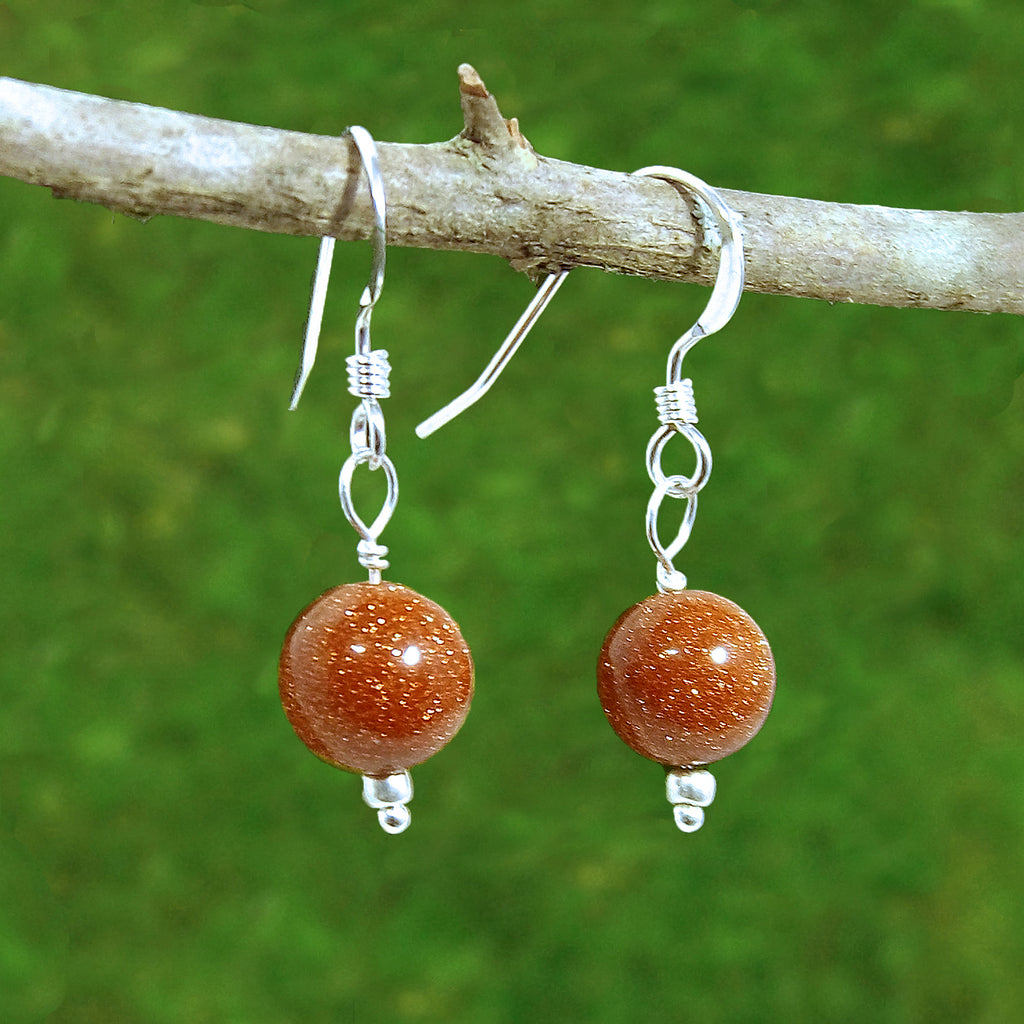 Goldstone Healing Earrings for Luck - Eluna Jewelry