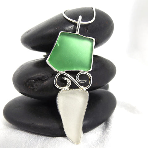 Green and White Sea Glass Pendant Necklace