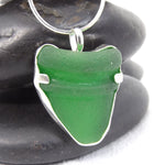 Green Sea Glass Necklace, Bottle Top