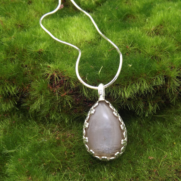 Silver Moonstone Pendant by Eluna Jewelry