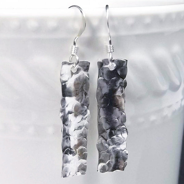 Hammered Sterling Silver Drop Earrings - Eluna Jewelry
