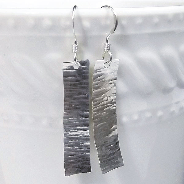 Hammered Ripple Sterling Silver Drop Earrings - Eluna Jewelry