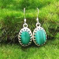 Malachite and Sterling Silver Earrings by Eluna Jewelry Designs