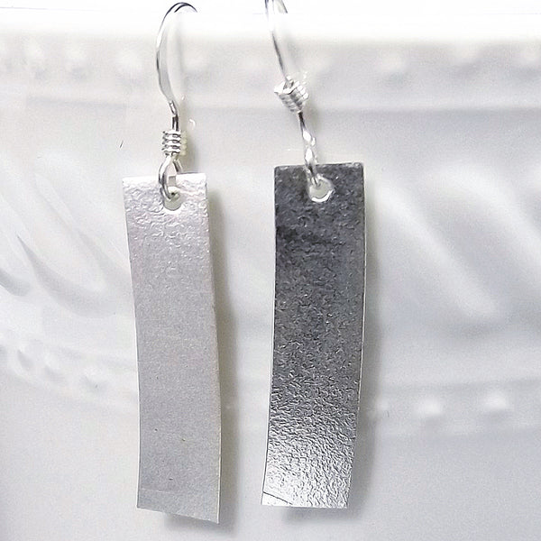 Matte Rectangle Sterling Silver Drop Earrings - Eluna Jewelry