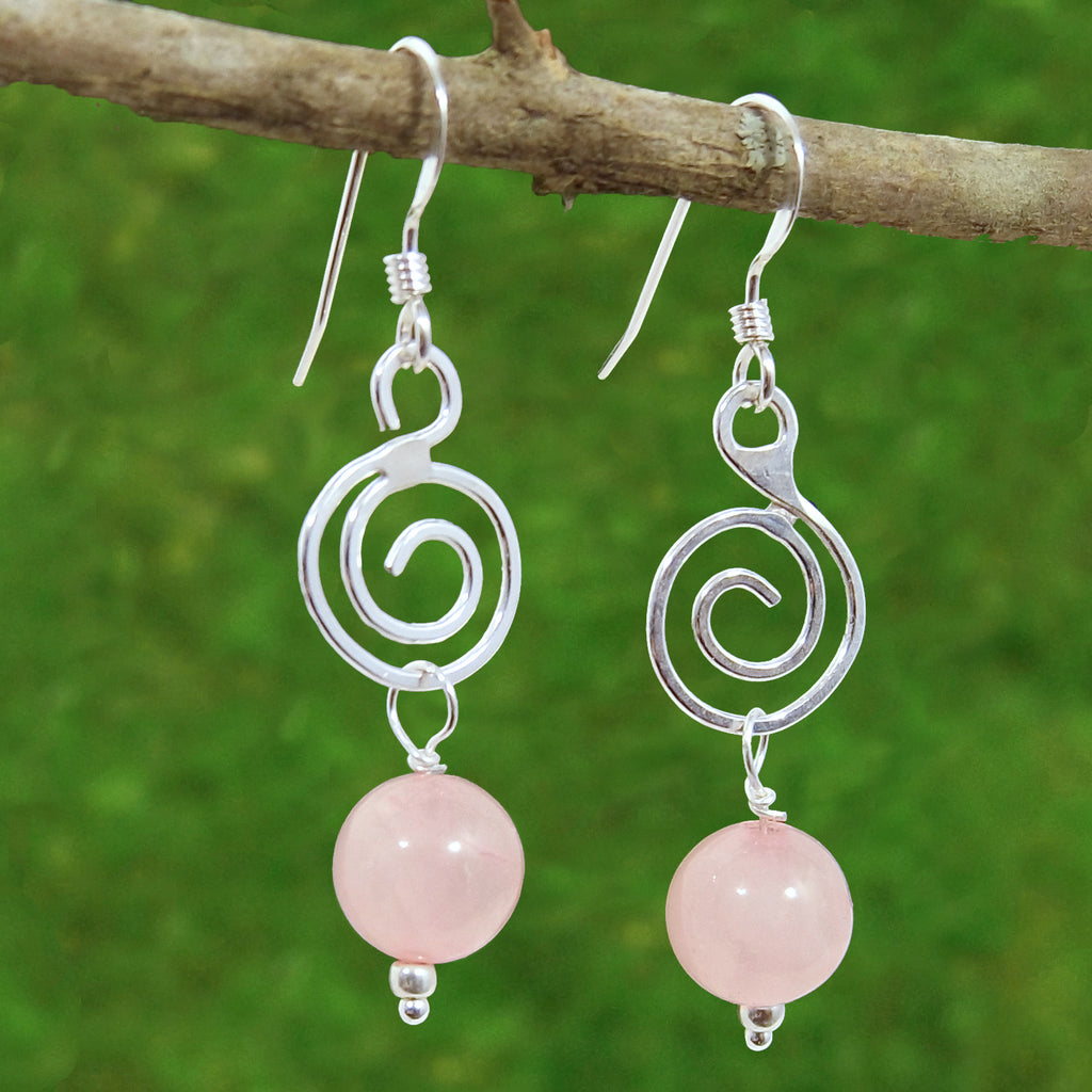 Rose Quartz Spiral Healing Earrings - Eluna Jewelry