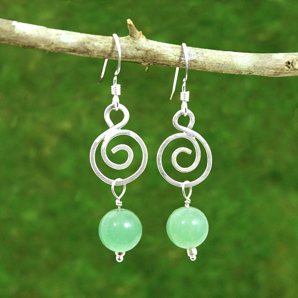 Green Aventurine Spiral Healing Earrings - Eluna Jewelry
