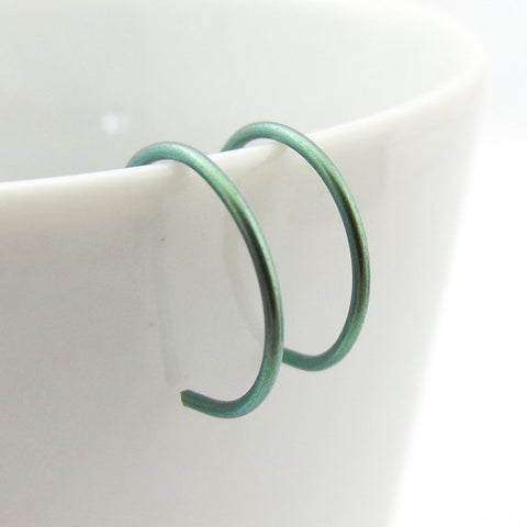 Green Niobium Hoop Earrings
