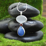 Red, White, and Blue Fiber Optic Cat's Eye Spiritual Pendant Necklace for Protection and Luck