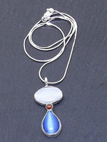 Red, White, and Blue Fiber Optic Cat's Eye Necklace for Protection and Luck - Eluna Jewelry