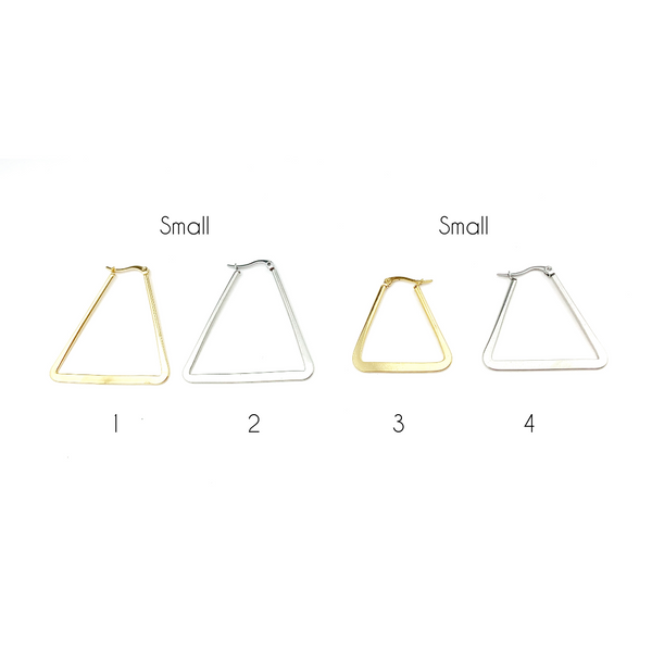 Triangle Gold Hoops Earrings - LoobanysJewelry