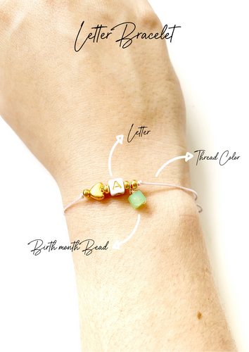 One Thread Letter and Month Bracelet