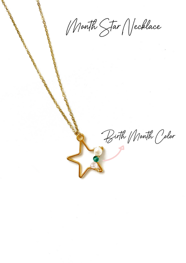 Month Star Necklace - LoobanysJewelry