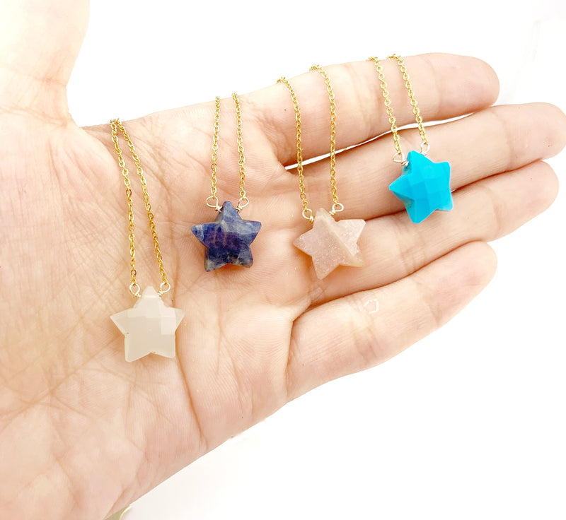 Opaque Moon Stone Star STONES necklace - LoobanysJewelry