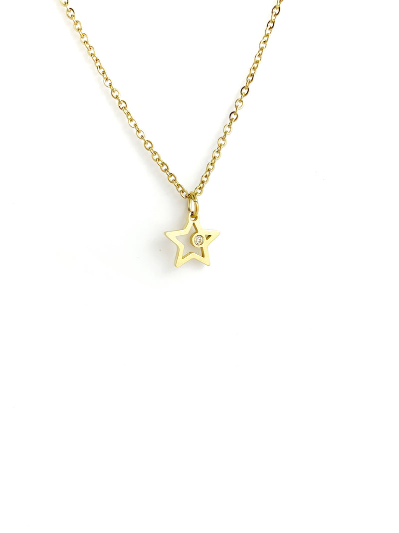 One Diamond Star Gold Necklaces - LoobanysJewelry