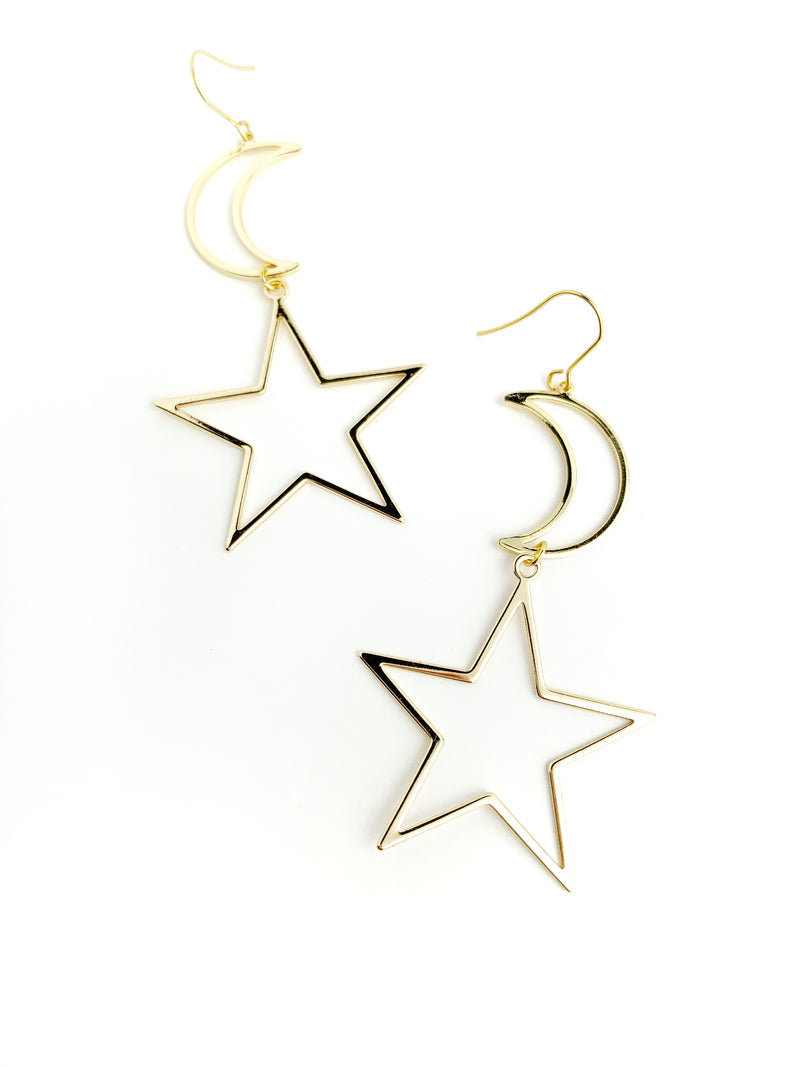 Moon + Star Statement Earrings - LoobanysJewelry