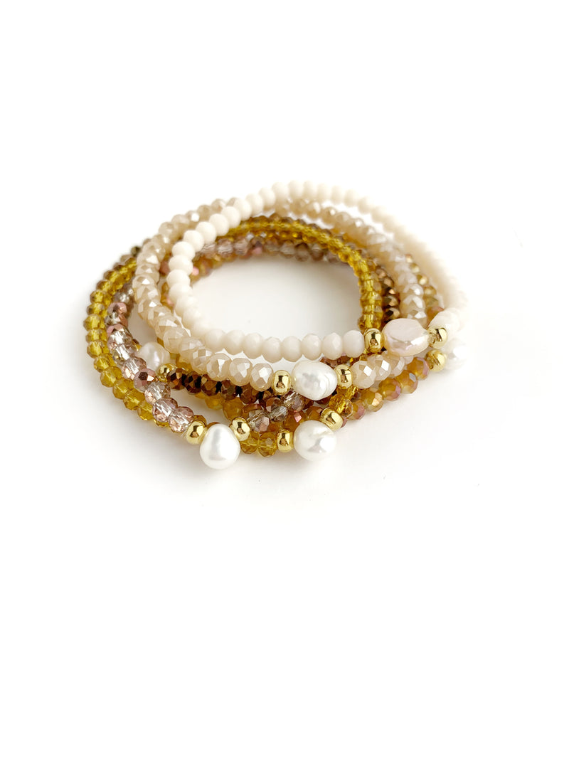 One Pearl Cream & Brown Bracelets - LoobanysJewelry