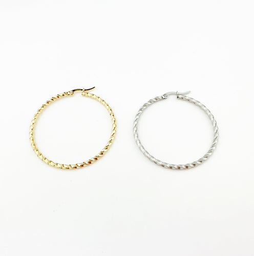 Torcido Round Gold Hoops Earrings