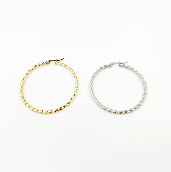 Torcido Round Gold Hoops Earrings - LoobanysJewelry
