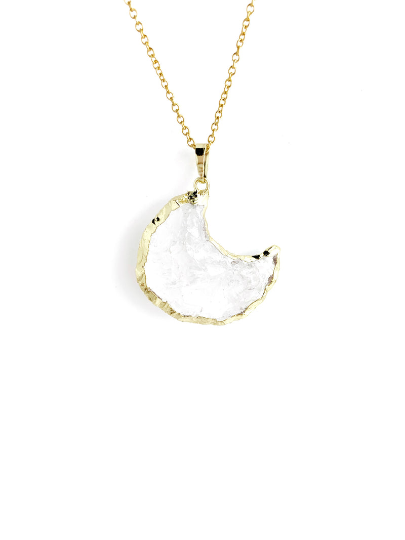 Crystal Long Moon Necklace - LoobanysJewelry