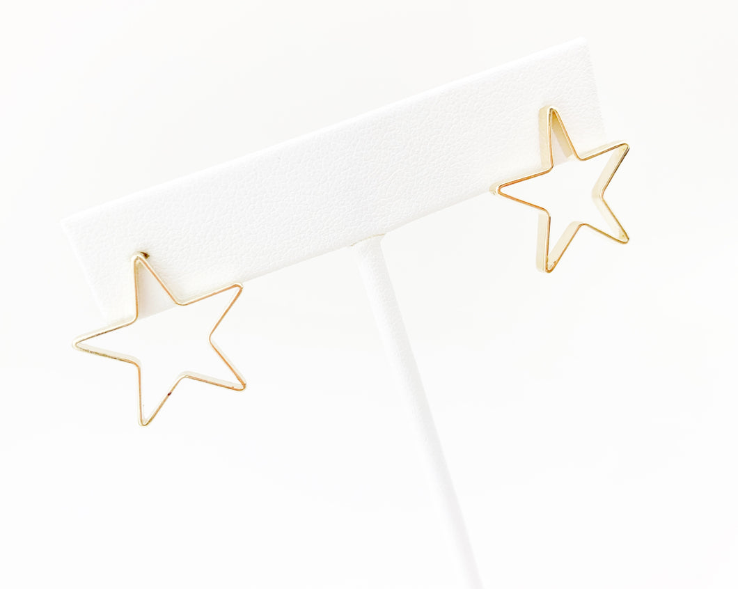Open medium star stud - LoobanysJewelry